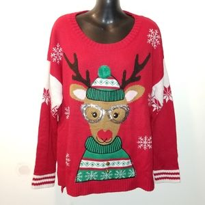 Christmas Sweater sz XL New Directions Red Party